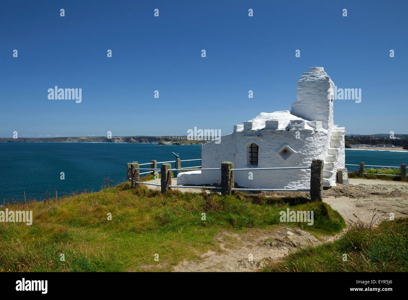 The Huer's Hut, Used in past times to watch for shoals of herring, Newquay, Cornwall, England - Stock Image