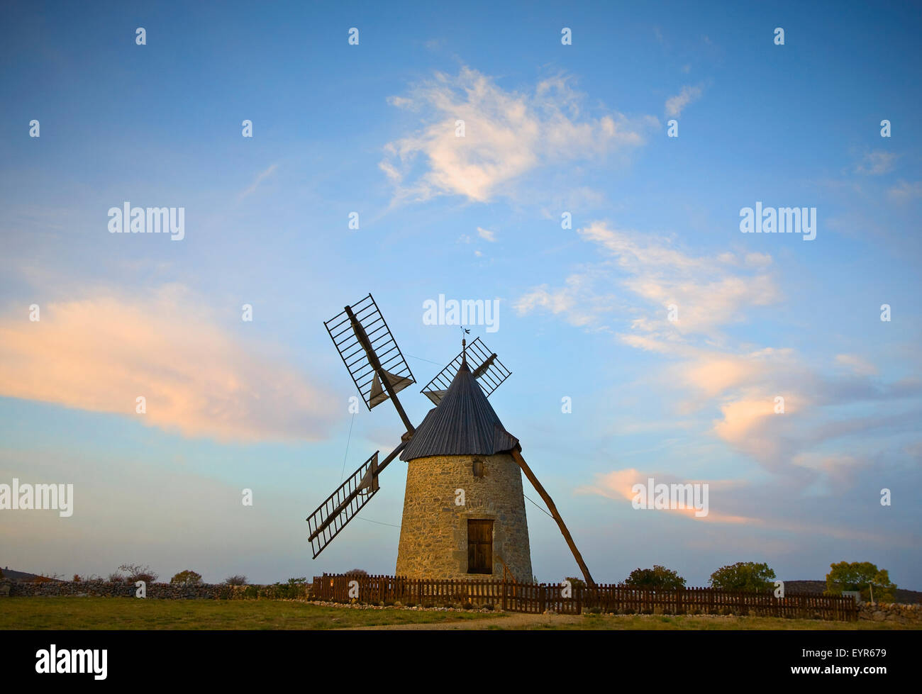 St Pierre de la Fage mill is located in the department of Hérault, not far from the Cirque de Navacelles, Languedoc - Stock Image