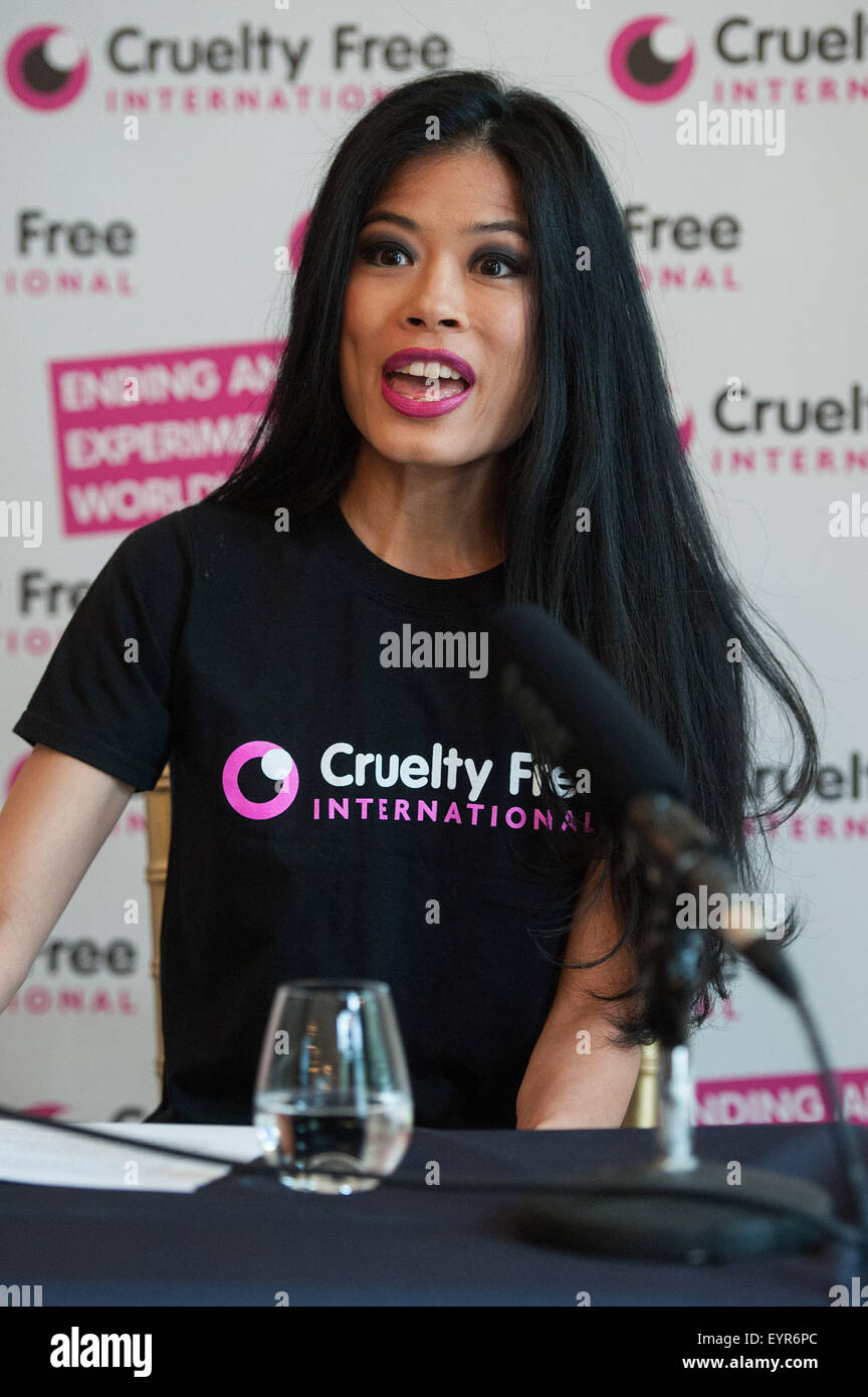 Vanessa Mae promotes Cruelty Free at the Mandarin Oriental.  Featuring: Vanessa Mae Where: London, United Kingdom Stock Photo