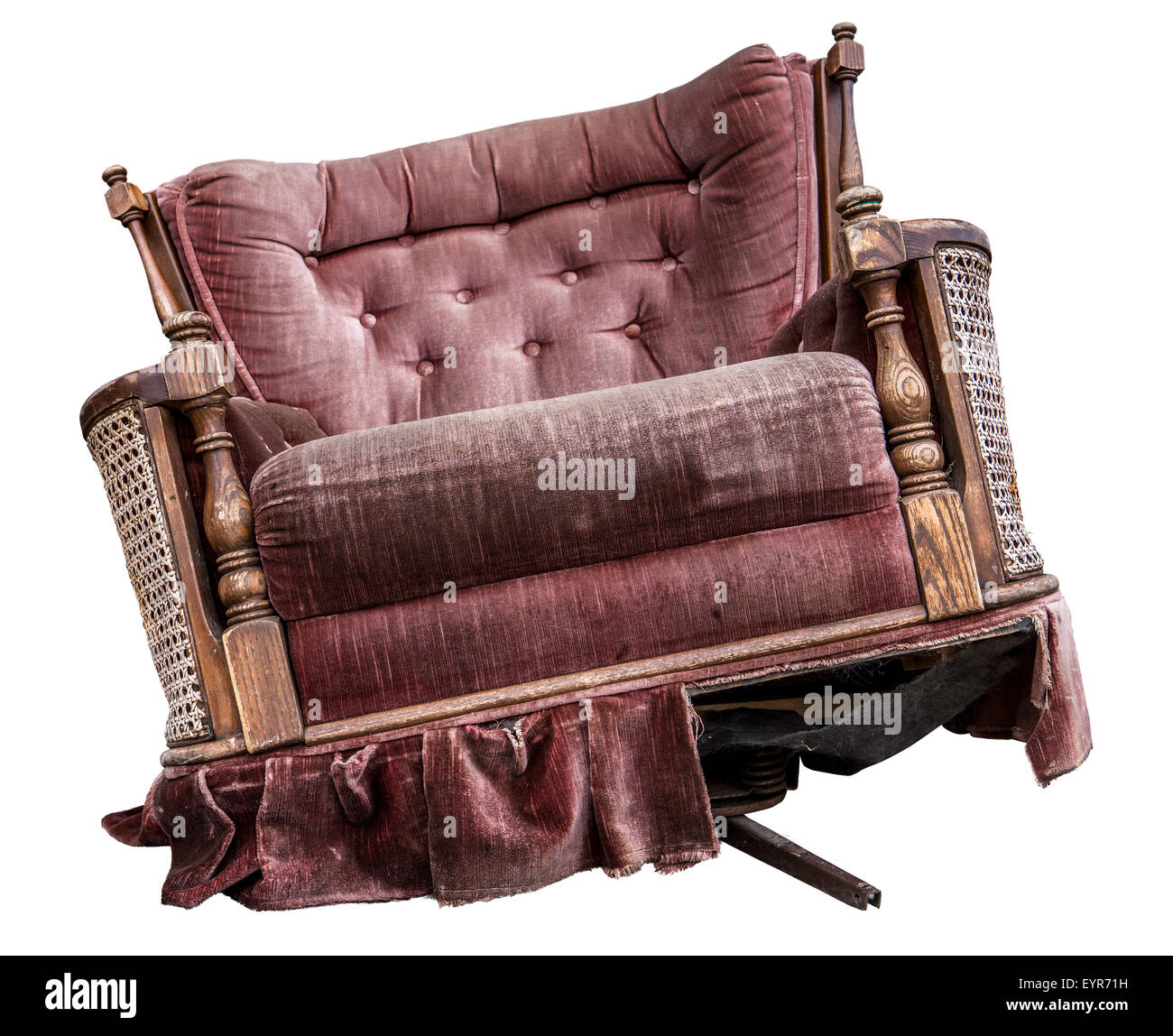 An Isolated Old Damaged Vintage Purple Armchair   Stock Image