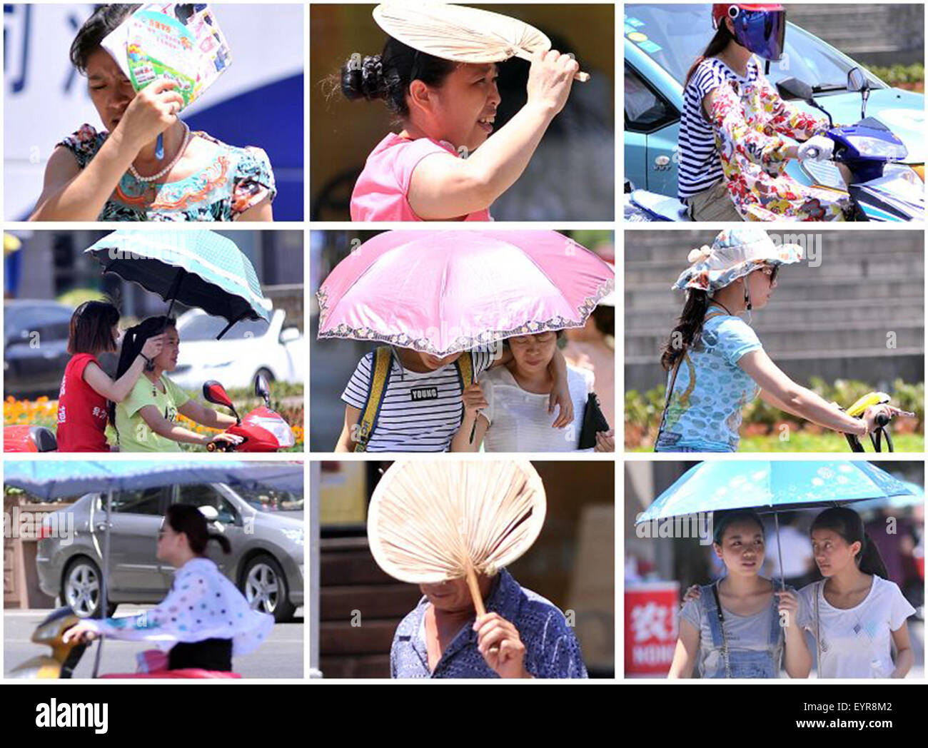 Nanchong. 3rd Aug, 2015. Combined photo taken on Aug. 3, 2015 shows people travelling outdoors in the sun in Nanchong, - Stock Image