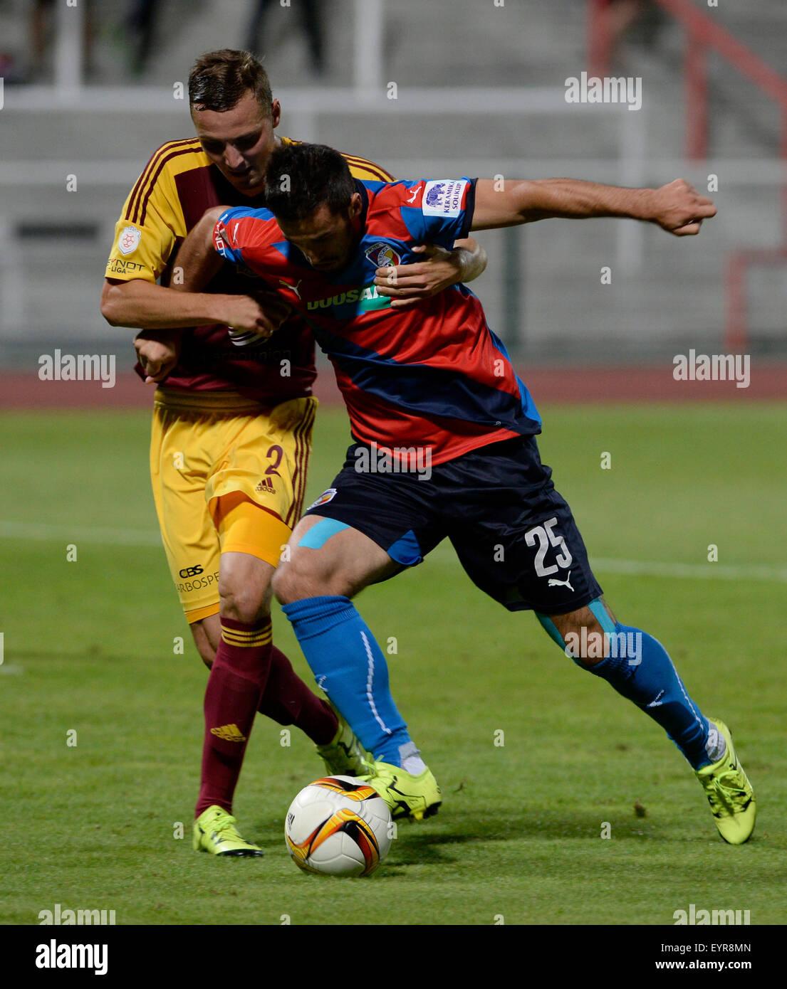Czech soccer league, 2nd round, FK Dukla Prague vs FC Viktoria Pilsen on August 1, 2015, Prague, Czech Republic. Stock Photo