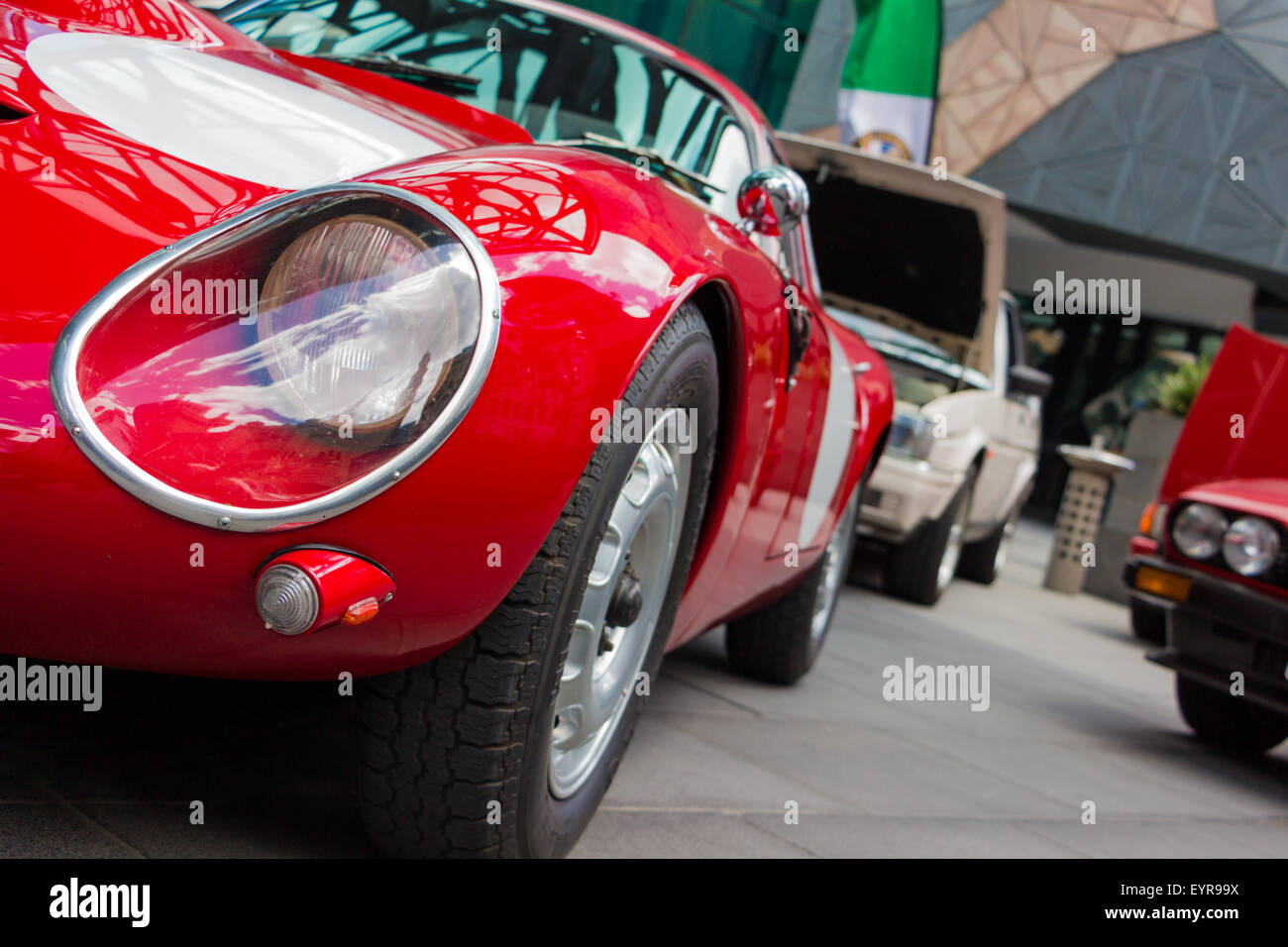 Close up of a red italian sports car at a car show in Melbourne, Australia. - Stock Image