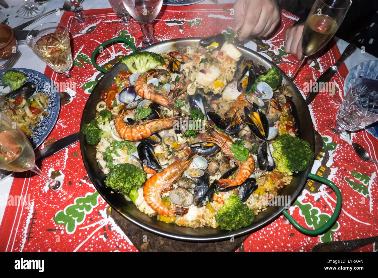 kingston upon thames surrey england christmas day dinner paella
