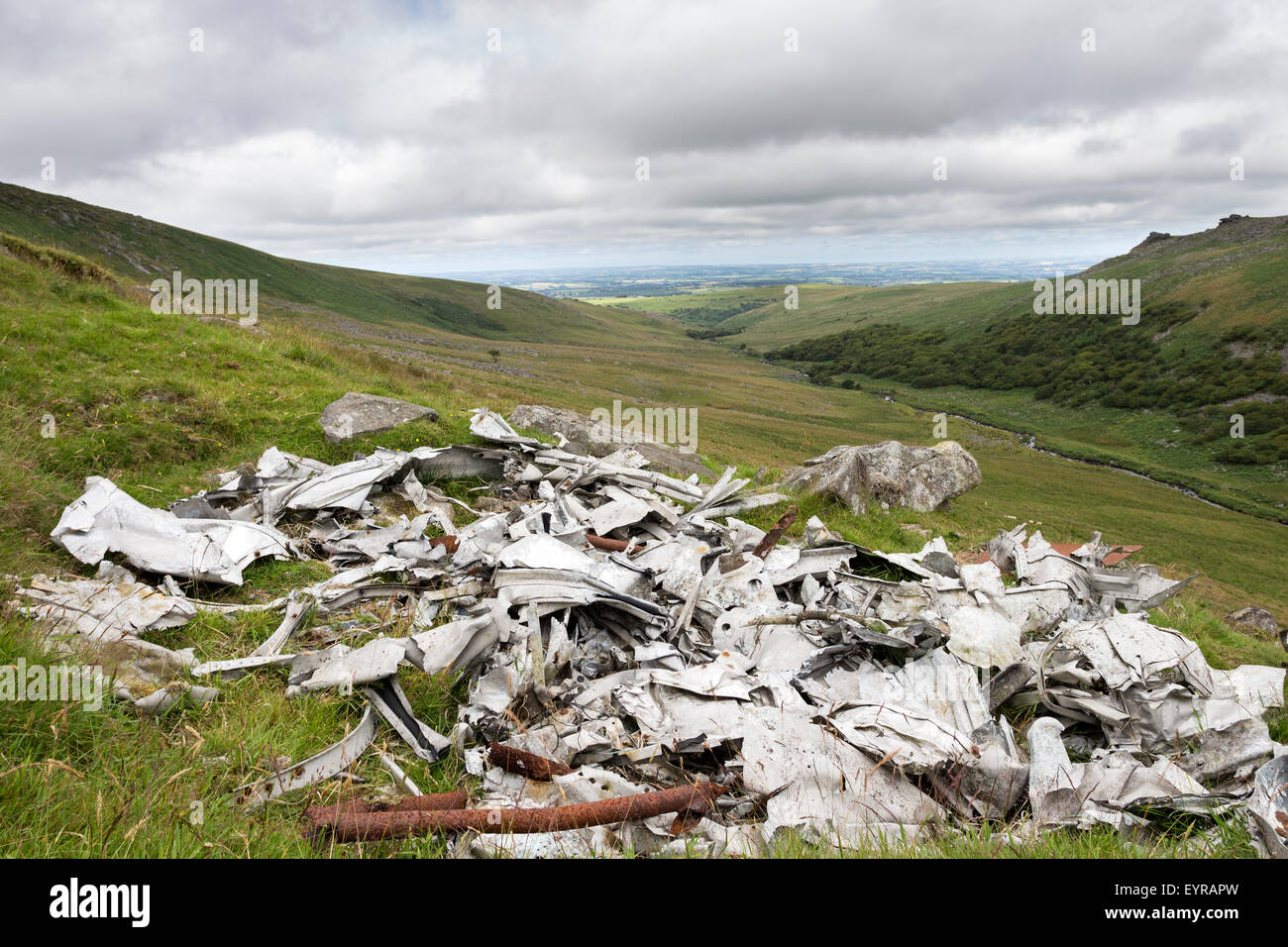 Wreckage of a Consolidated PB4Y-1 Liberator Aircraft Which Crashed During World War 2 Slipper Stones, Dartmoor, - Stock Image