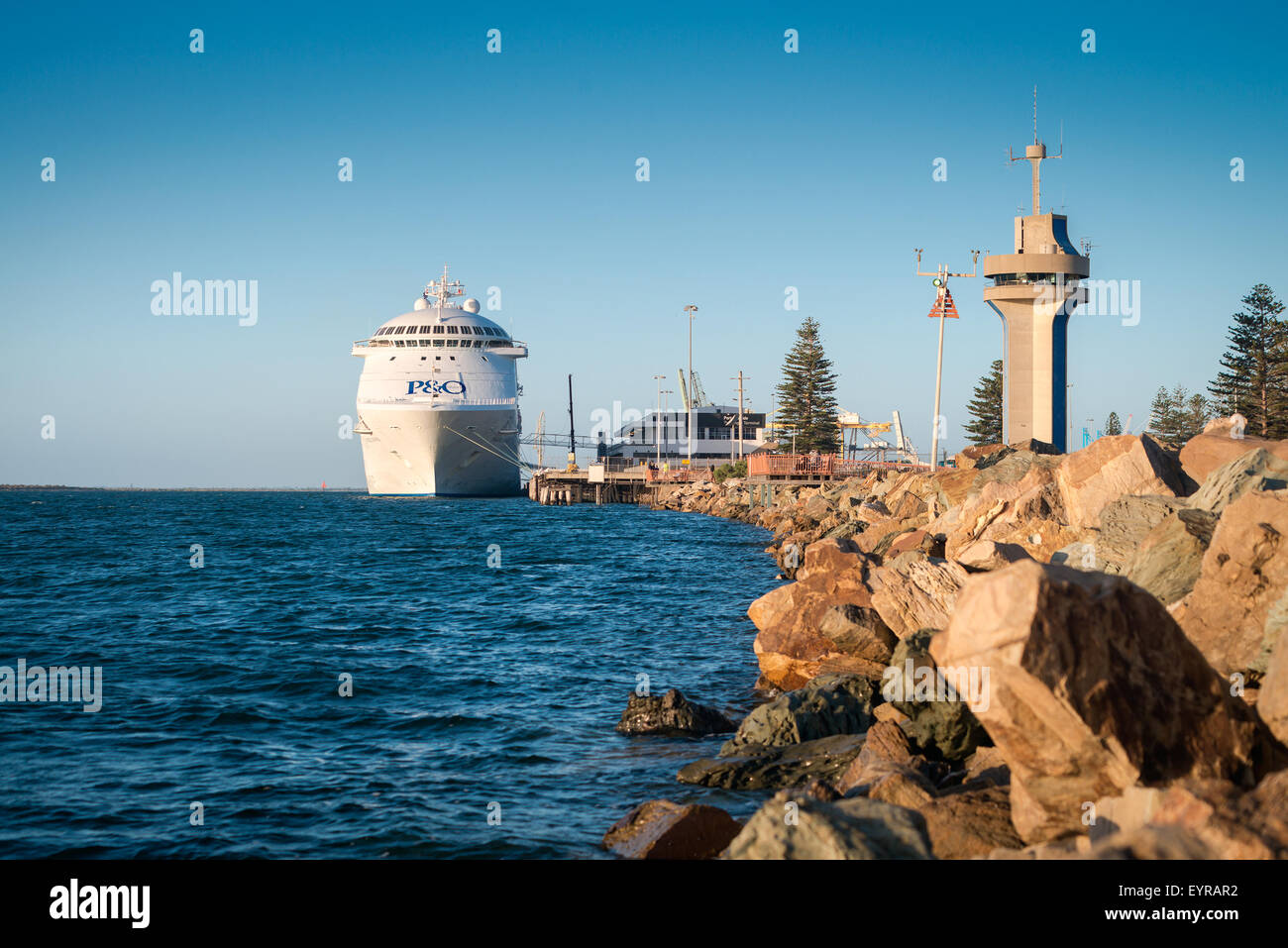Adelaide, Australia - March 5, 2015: P&O Pacific Jewel cruise ship is docked at Port Adelaide to pick up passengers - Stock Image