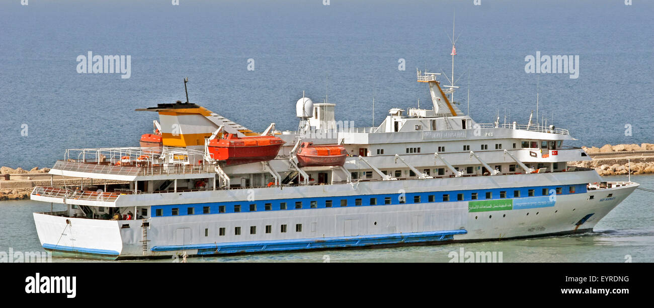 M/S Mavi Marmara Humanitarian support ship leaves the Israeli harbour after the takeover Stock Photo