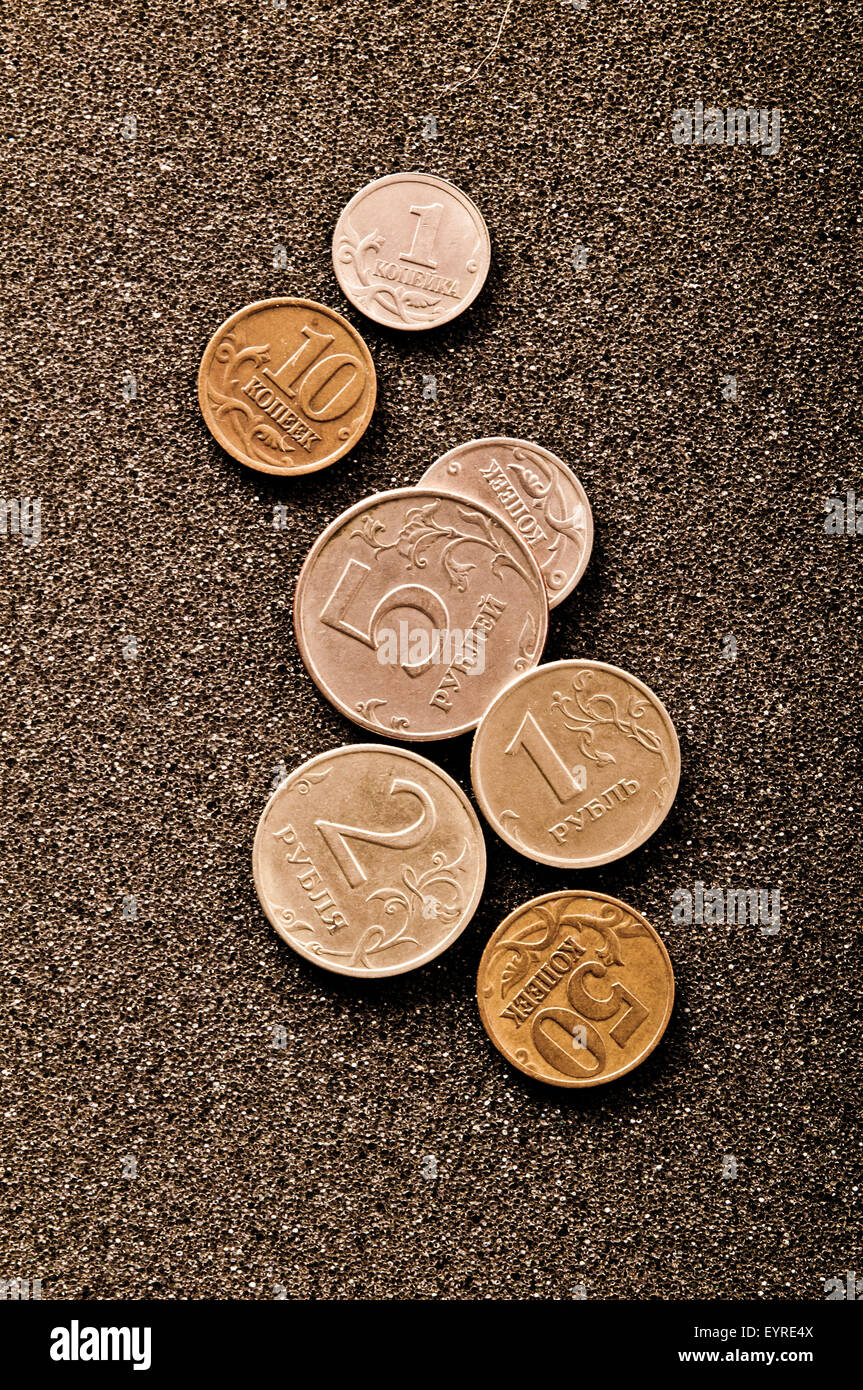 Russian rubles and kopek coins - Stock Image