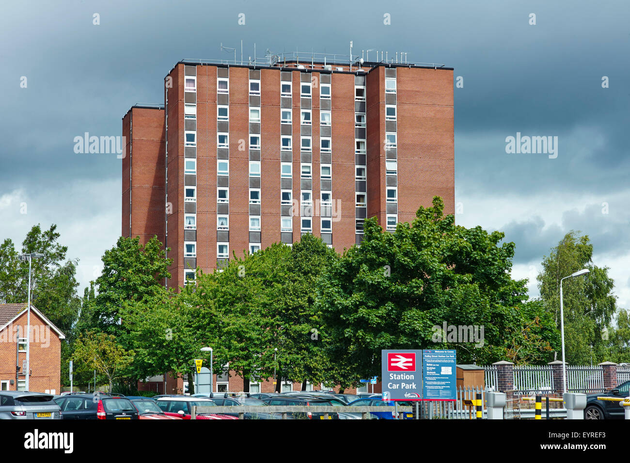 60s block of flats in Crewe near the station - Stock Image
