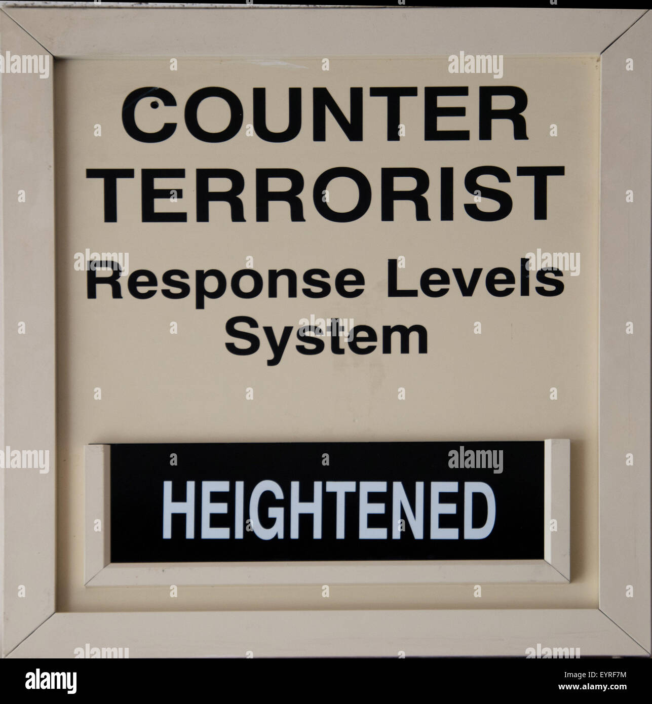 Counter terrorist board as displayed at UK military bases, replaces the bikini system. - Stock Image