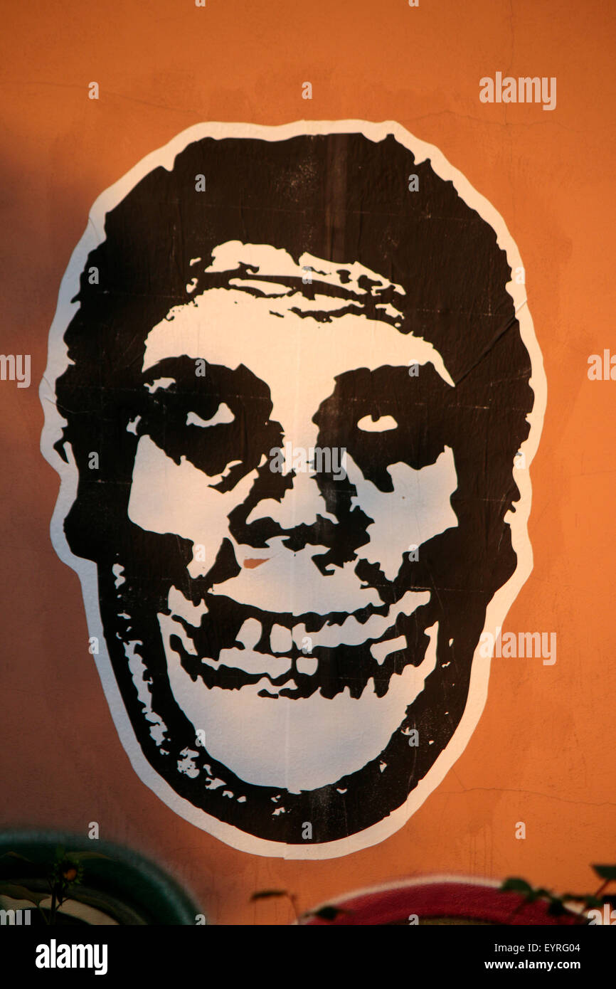Shepard Fairey 'Andre the Giant' Graffity Berlin. - Stock Image