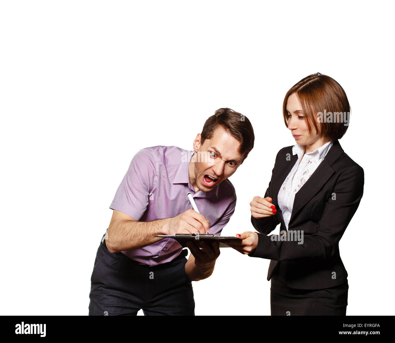 Businessman signs a horrible contract with the Secretary. Isolated on white background. The concept of teamwork Stock Photo