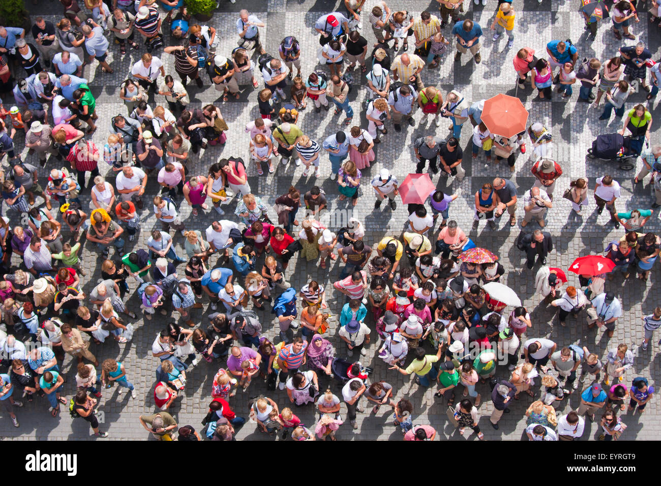 top view at a plaza with a croud of waiting people stock photo