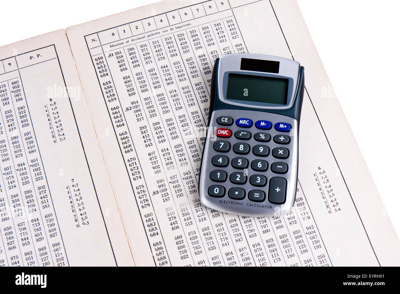 dutch logaritm table with calculator stock photo 85956137 alamy