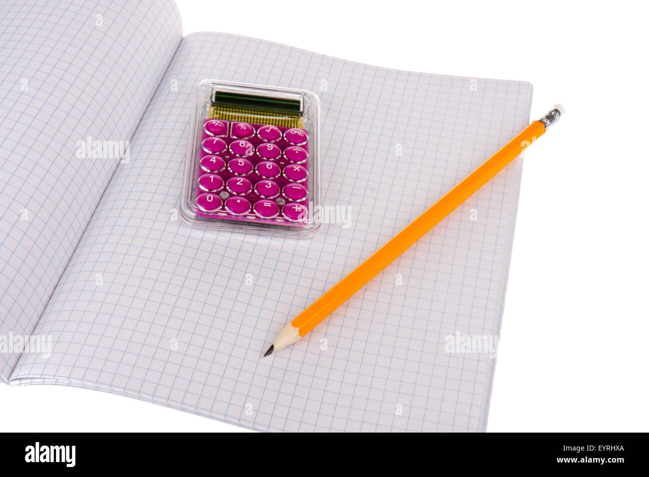 Exercise book with wooden pencil and calculator - Stock Image