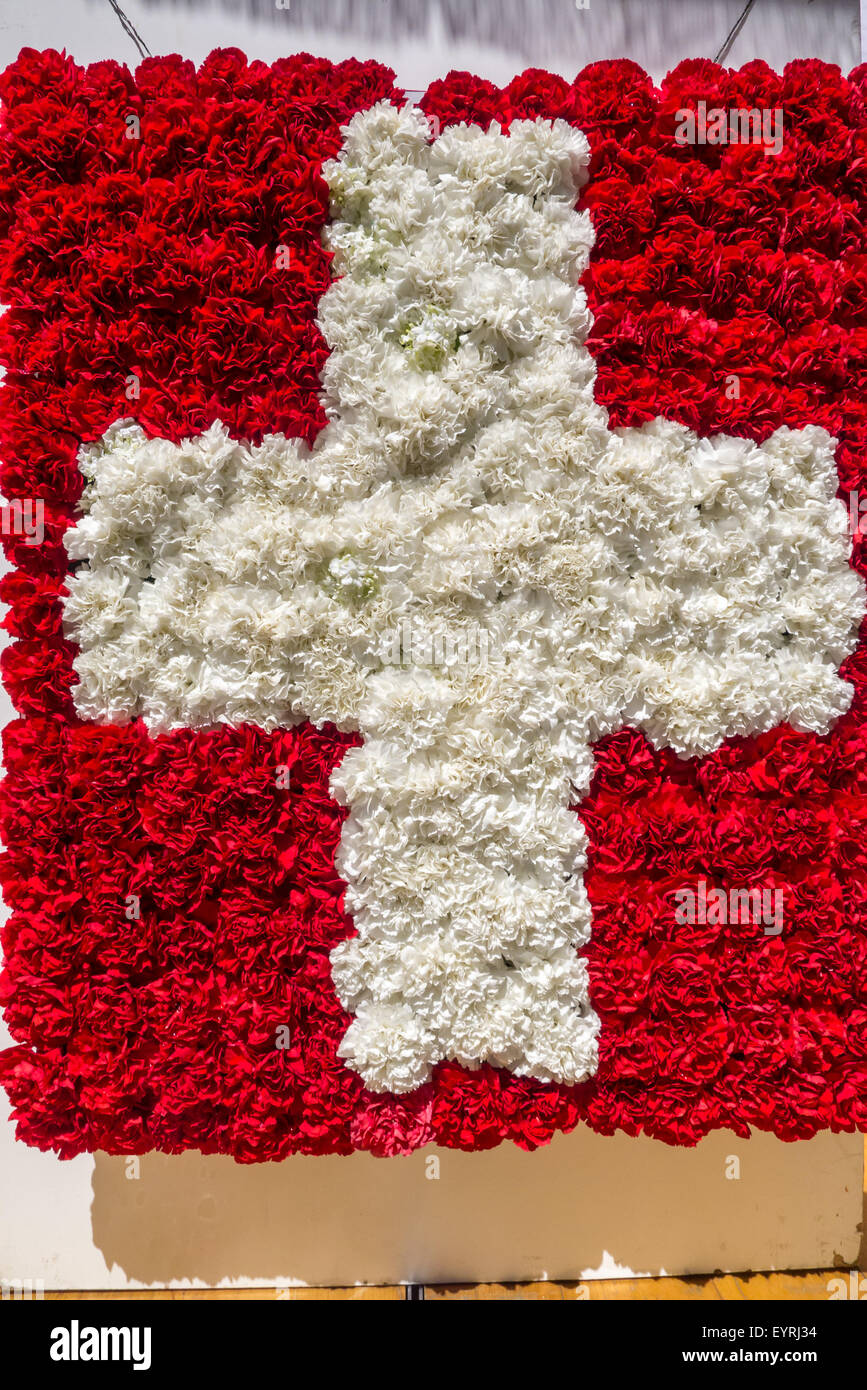 Switzerland swiss flag made with red and white carnation flowers swiss flag made with red and white carnation flowers mightylinksfo