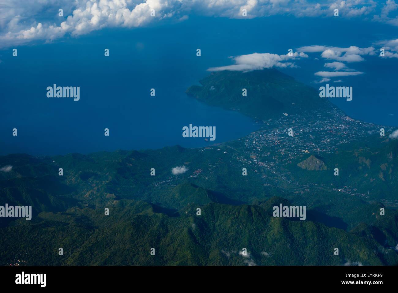 Aerial view of Ende city on the edge of Savu Sea. © Reynold Sumayku - Stock Image