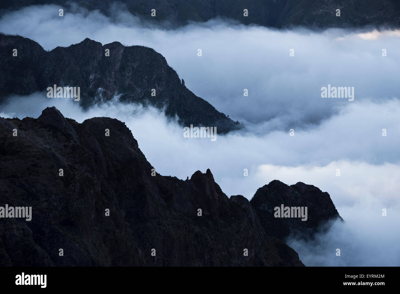 Portugal, Madeira, mountains, inland, fog, clouds, lines, scenery, - Stock Image