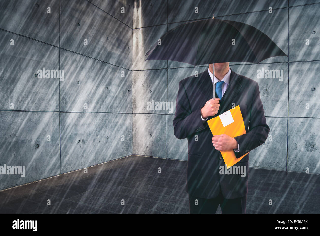 Insurance Agent with Umbrella Protecting from Rain in Urban Outdoor Setting, Risk Assessment and Analysis - Stock Image