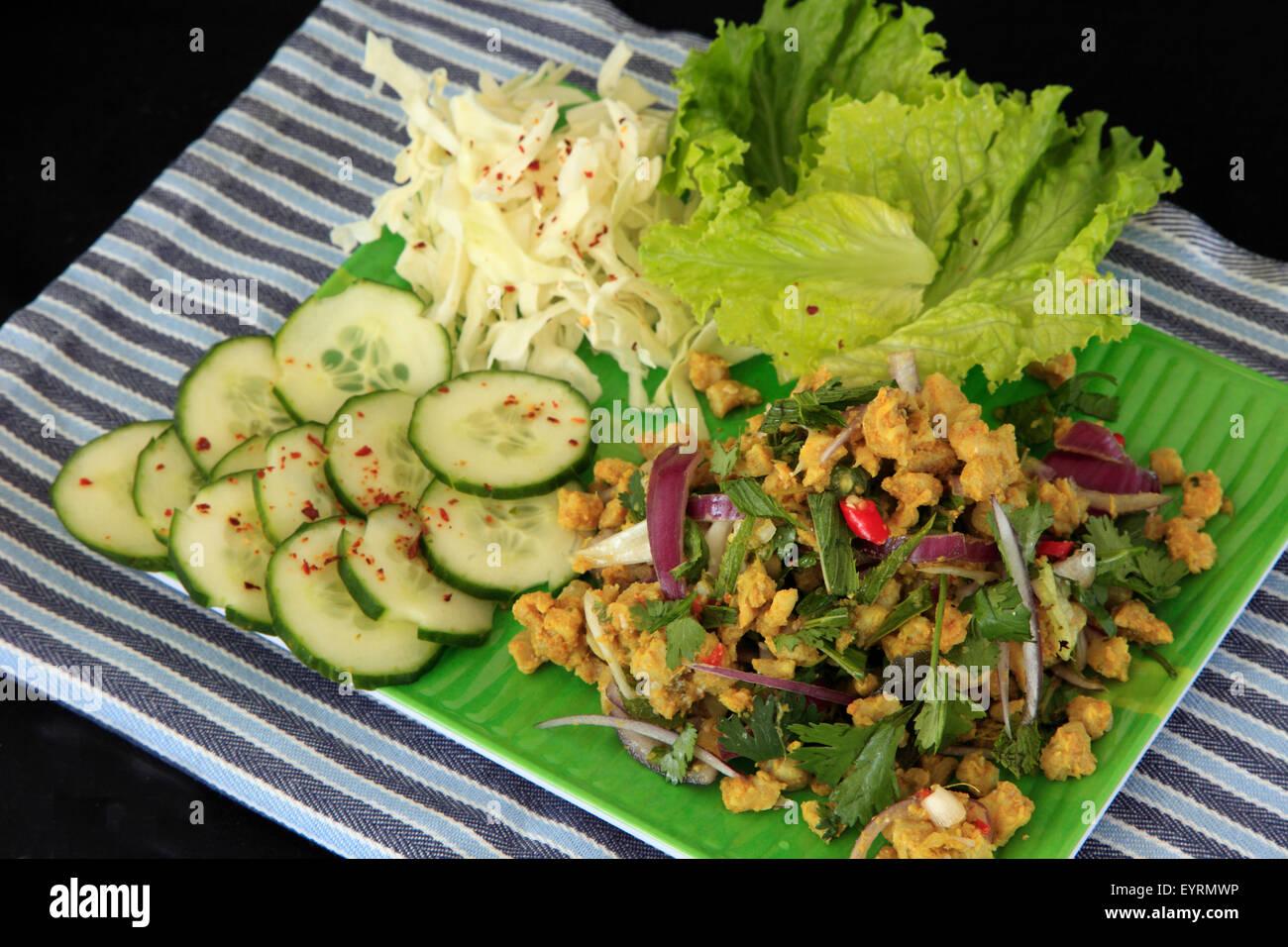 Laotian food, fish larb, - Stock Image
