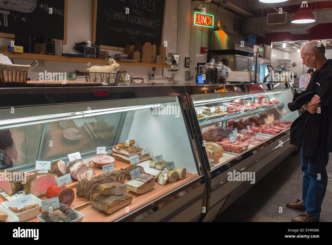 New York City Usa Deli Case With Cold Cuts Shops Inside Public