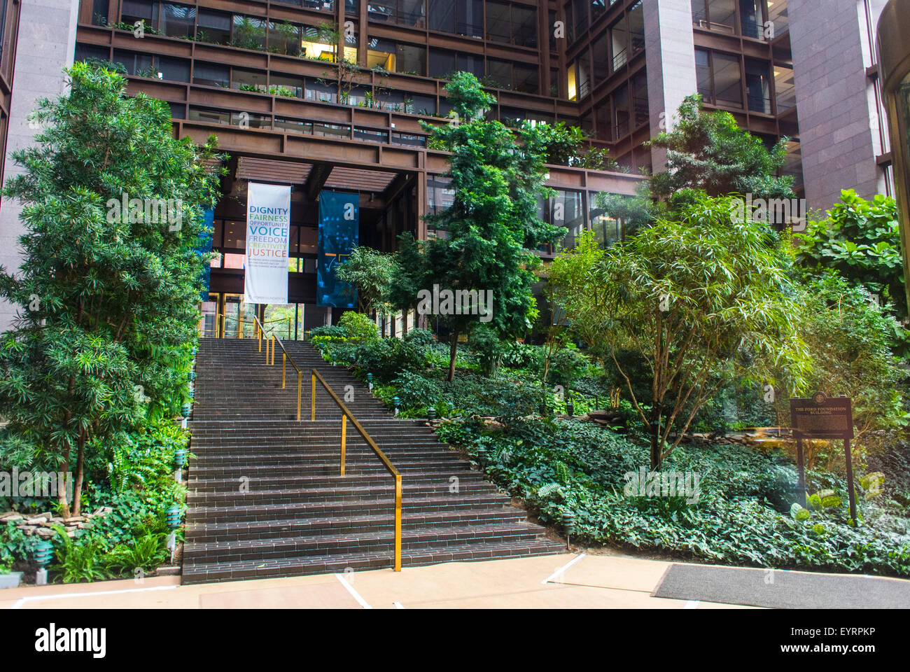 New York City, USA, Garden Inside Ford Foundation Building With Sign On  Window