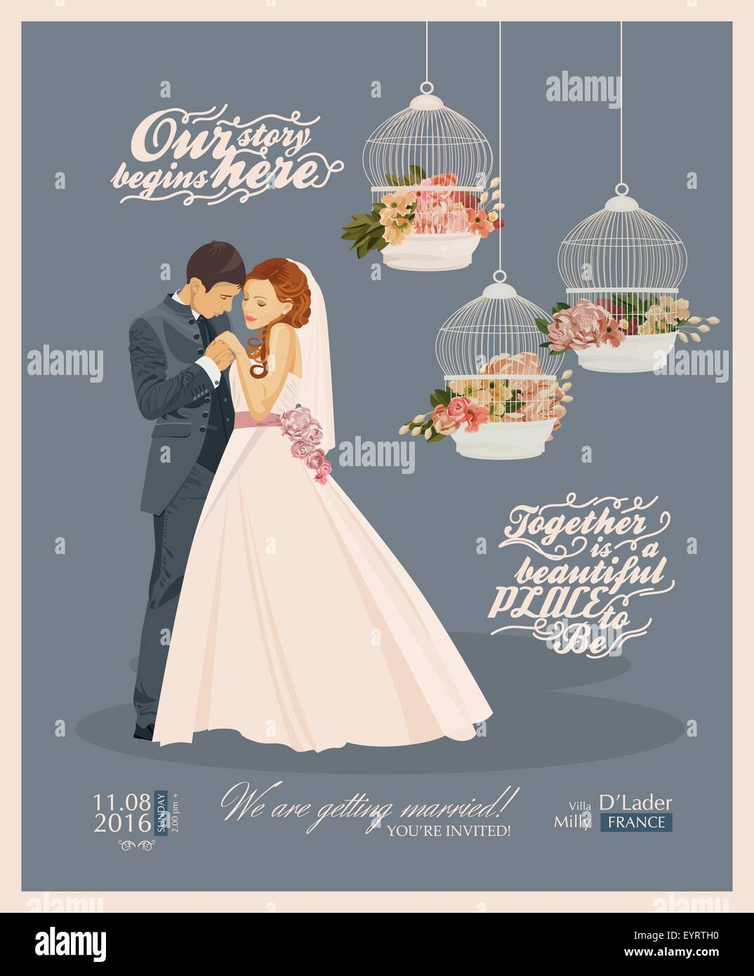 Wedding Vintage Invitation Card Template Vector With Bride
