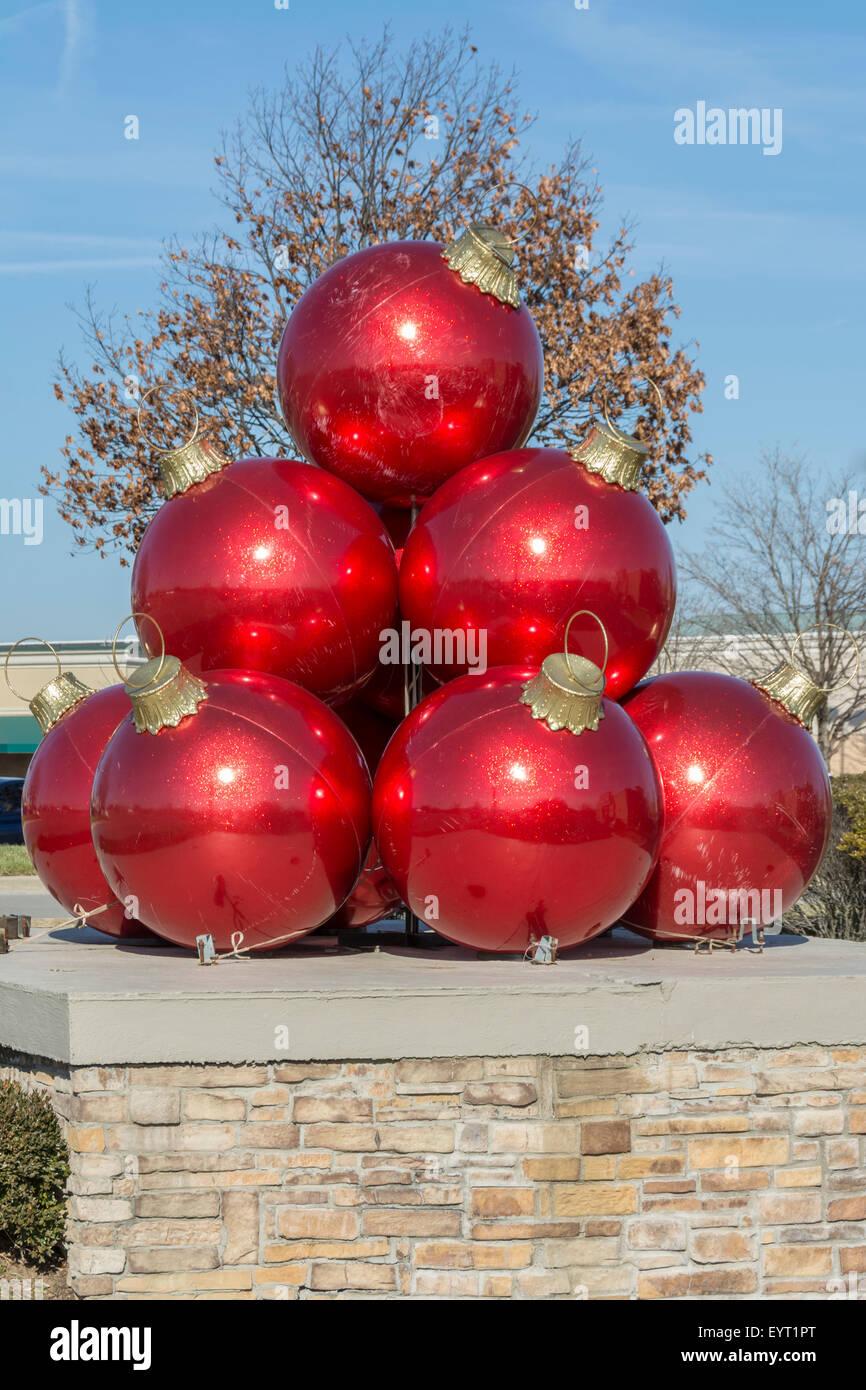giant christmas ball ornaments display stock image - Giant Christmas Balls