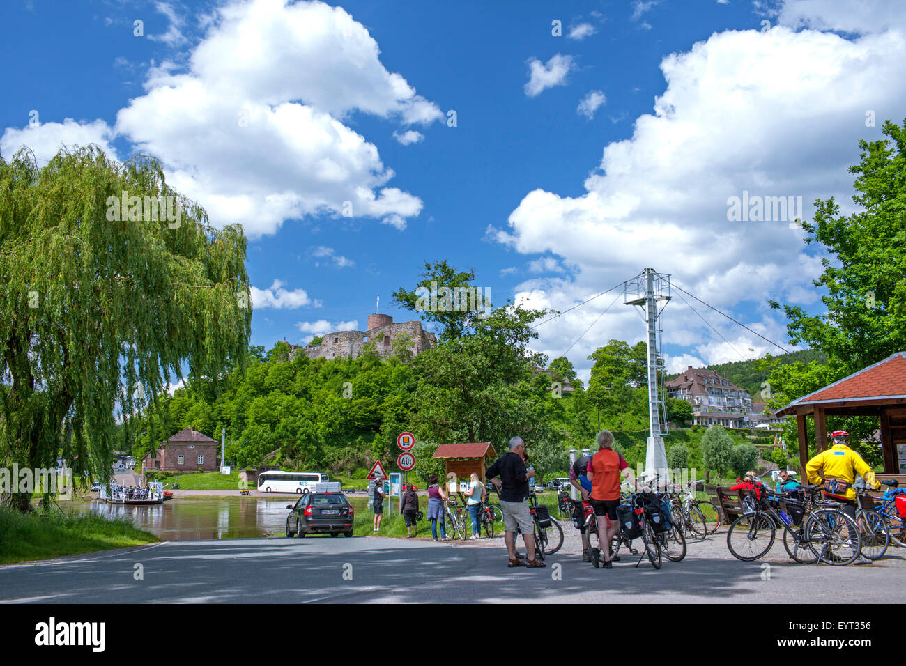 Germany Weserbergland (Weser mountainous country), Lower Saxony, Polle, Weser ferry, bicycle tourist - Stock Image