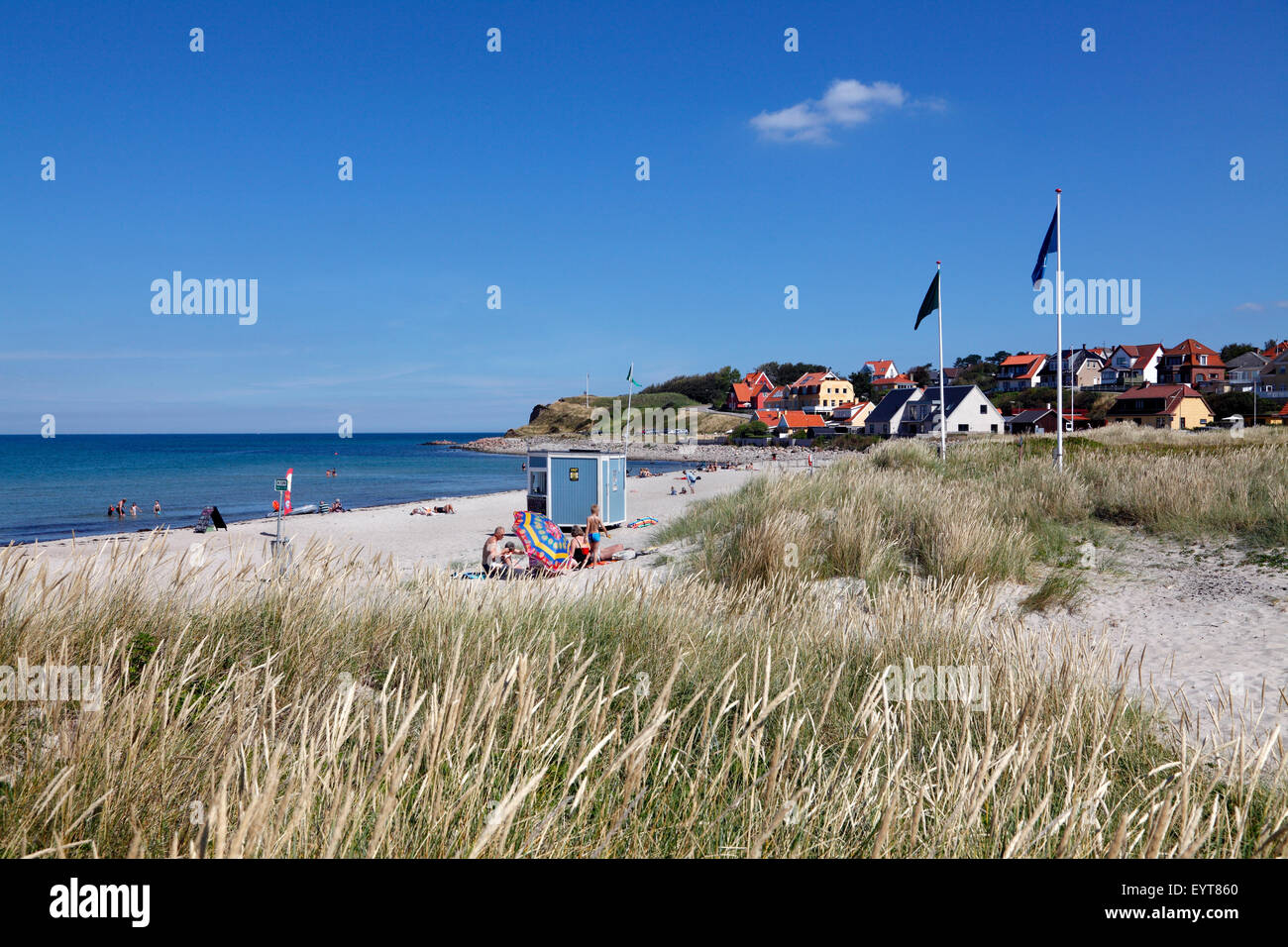 Hundested beach and the lower part of the moraine cliff, Spodsbjerg, with remnants of the redoubt Skansen in the - Stock Image