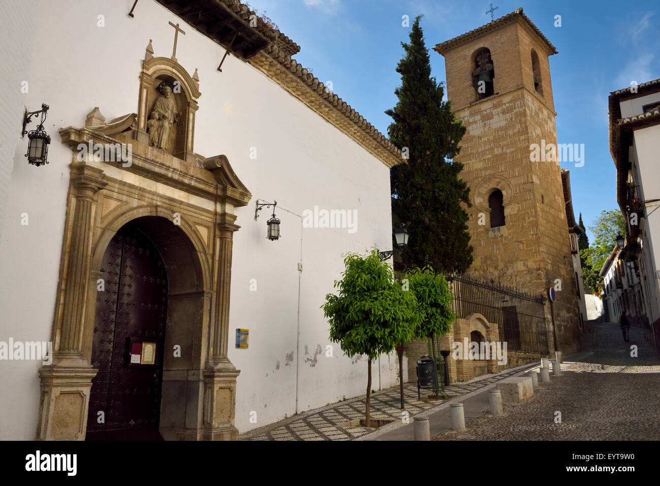 Church of Saint Joseph foster father of Jesus with minaret converted to bell tower Granada - Stock Image