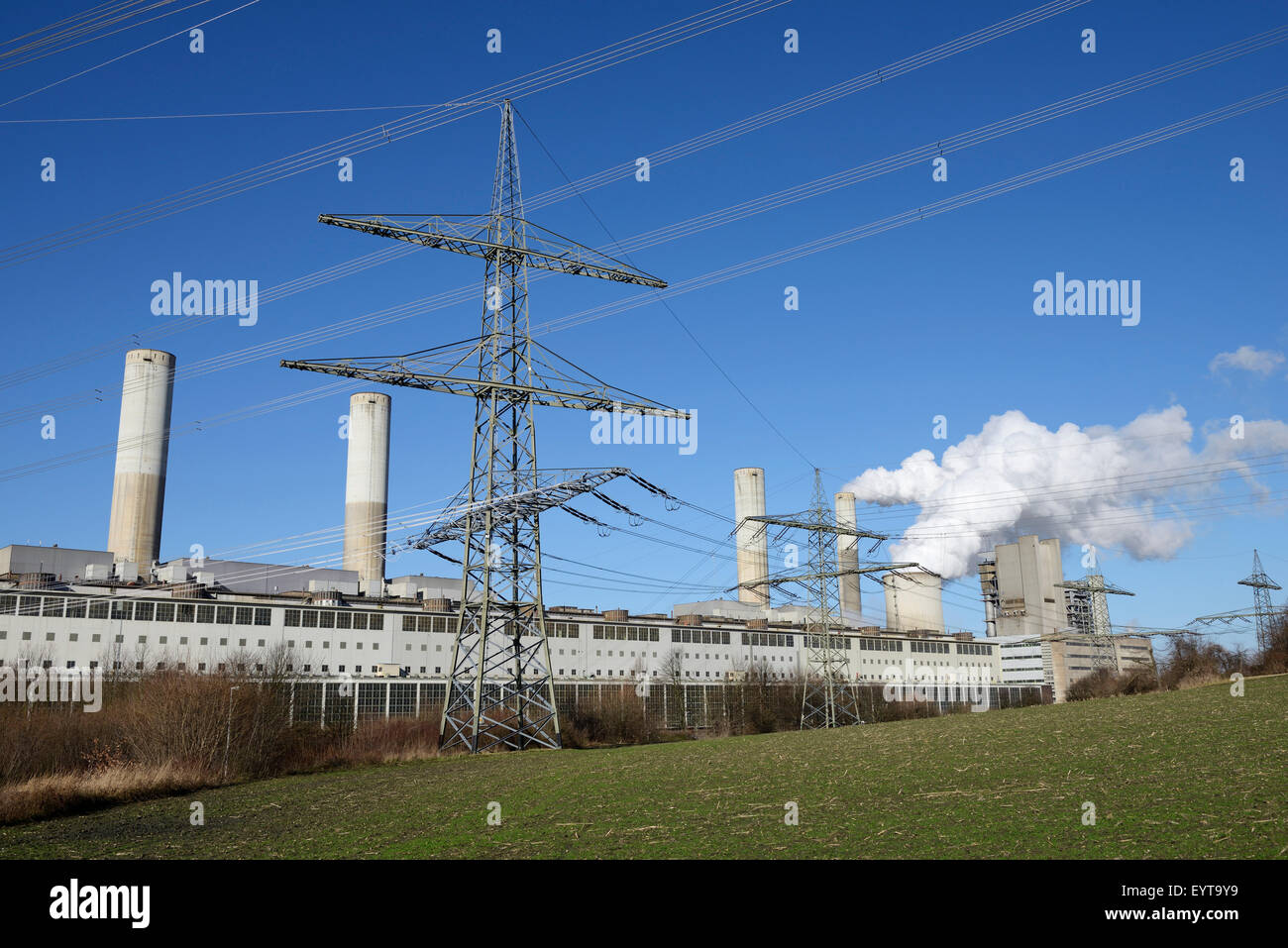 Brown coal power station Frimmersdorf, Germany, North Rhine-Westphalia, Grevenbroich Stock Photo