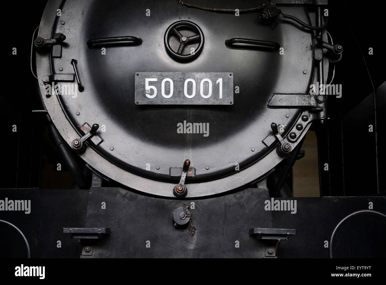 Front of an old steam locomotive type 050 - Stock Image