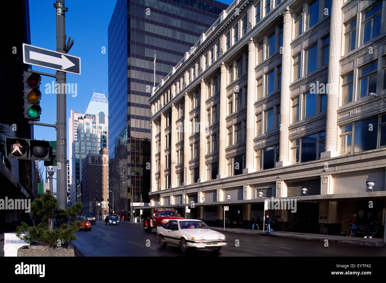 Vancouver, BC, British Columbia, Canada - Downtown City Scene of Hudson's Bay Company Store along Georgia Street - Stock Image
