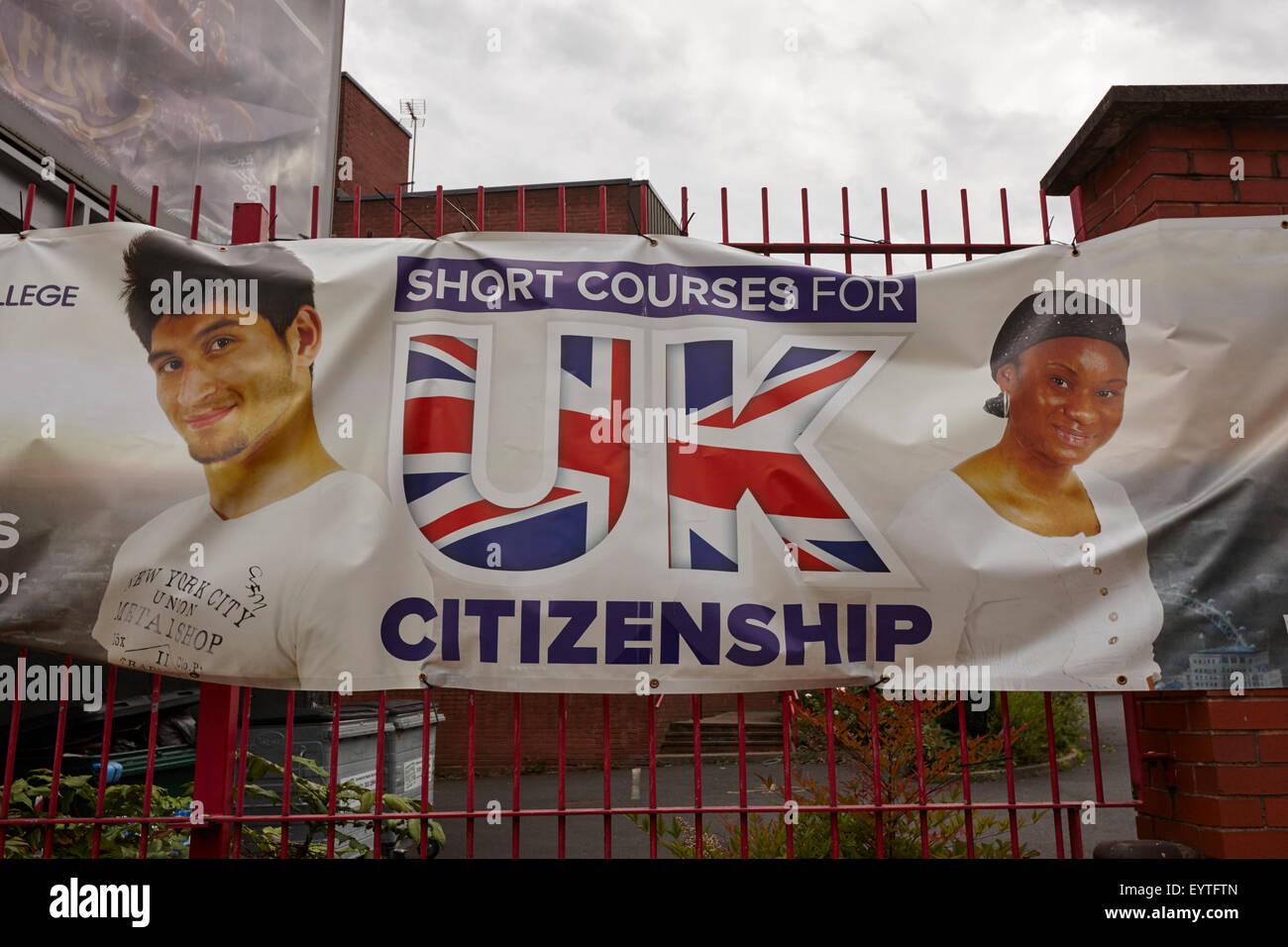 advert for short courses in uk citizenship in Birmingham UK - Stock Image