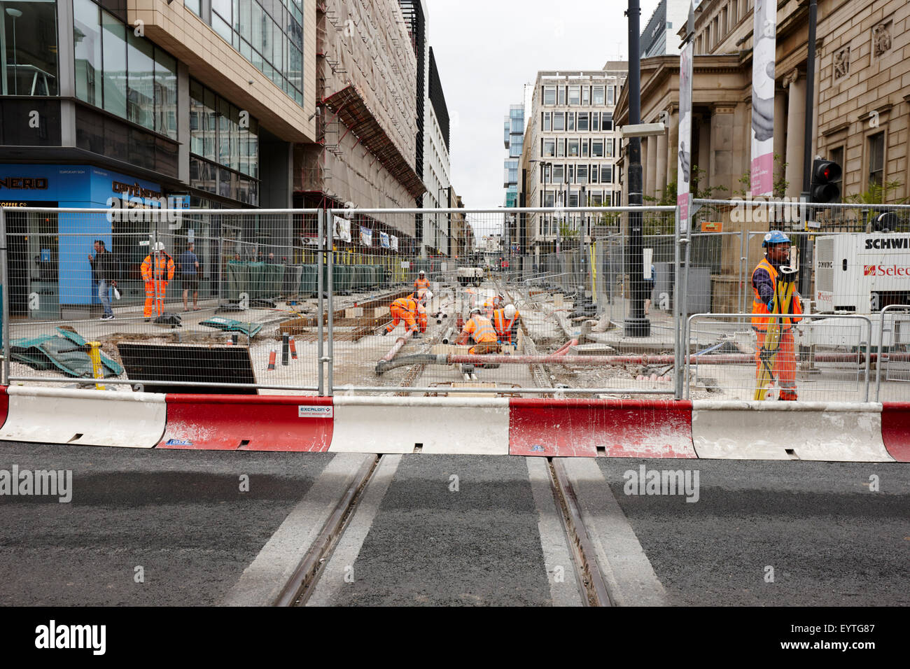 ongoing tram works Manchester city centre uk - Stock Image
