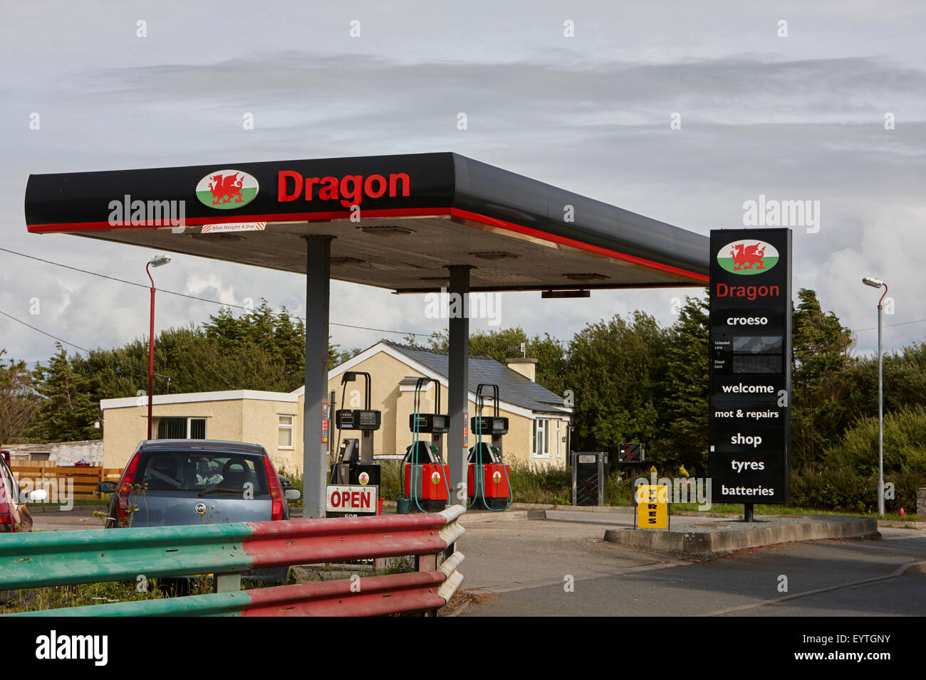 dragon petroleum petrol station small welsh independent supplier - Stock Image
