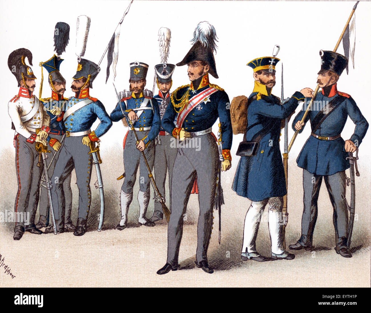 The figures pictured here represent Prussian military. From left to right, they are: Cuirassier 1814, Uhlan, Dragoon, - Stock Image