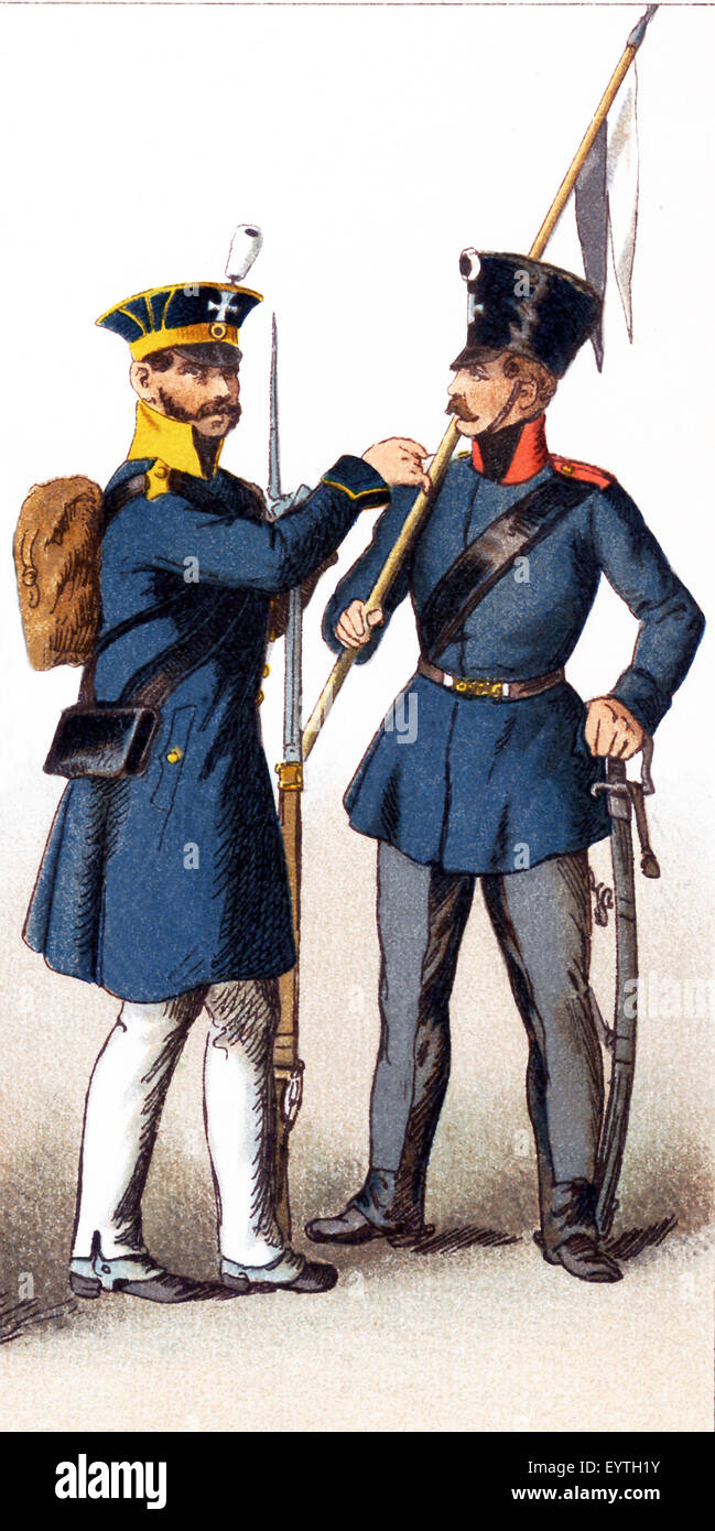 The figures pictured here represent Prussian military in the early 1800s. From left to right, they are: Silesian - Stock Image