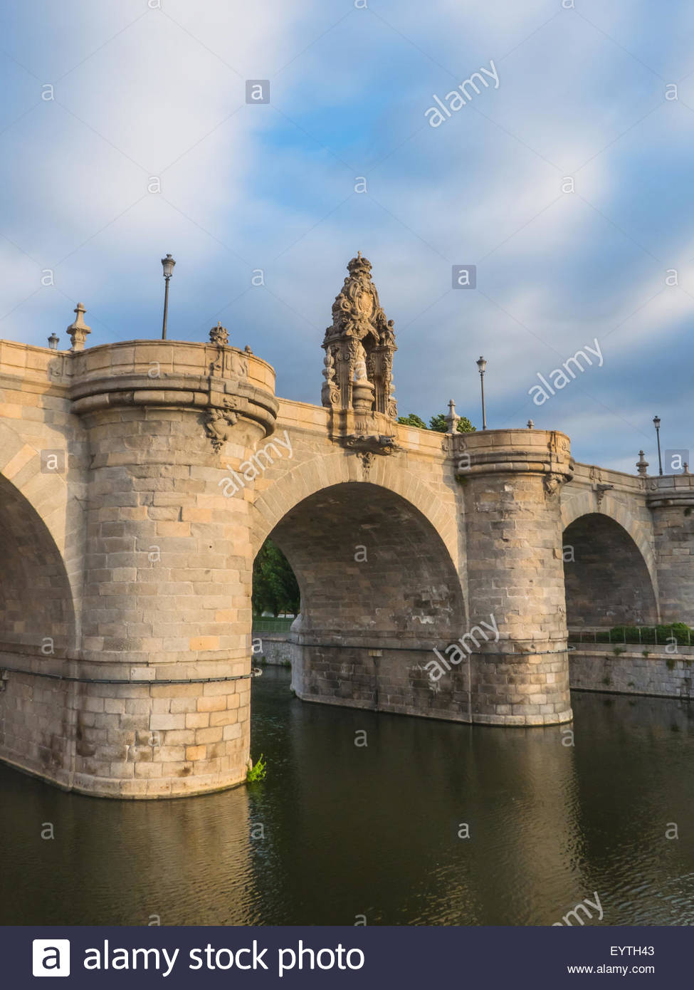 Bridge of Toledo over river Manzanares in Madrid, Spain. Puente de Toledo Stock Photo