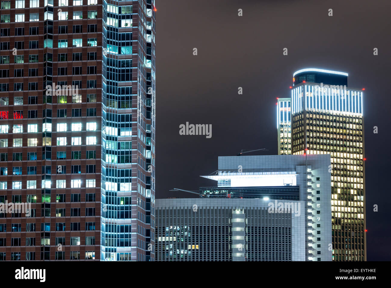 Germany, Hesse, Frankfurt am Main, architecture detail of the Messeturm (Trade Fair Tower), Castor, Pollux and the Stock Photo
