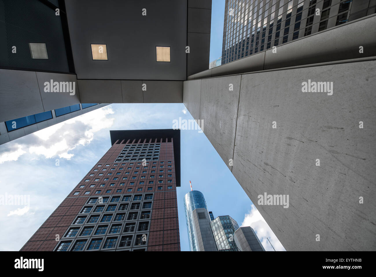 Germany, Hesse, Frankfurt am Main, dynamic View at the Taunusturm, Maintower and the JapanTower - Stock Image