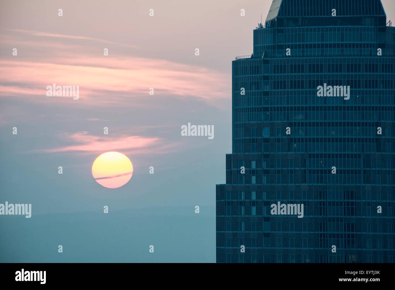 Germany, Hesse, Frankfurt am Main, Frankfurt Messeturm (Trade Fair Tower) in the sundown Stock Photo