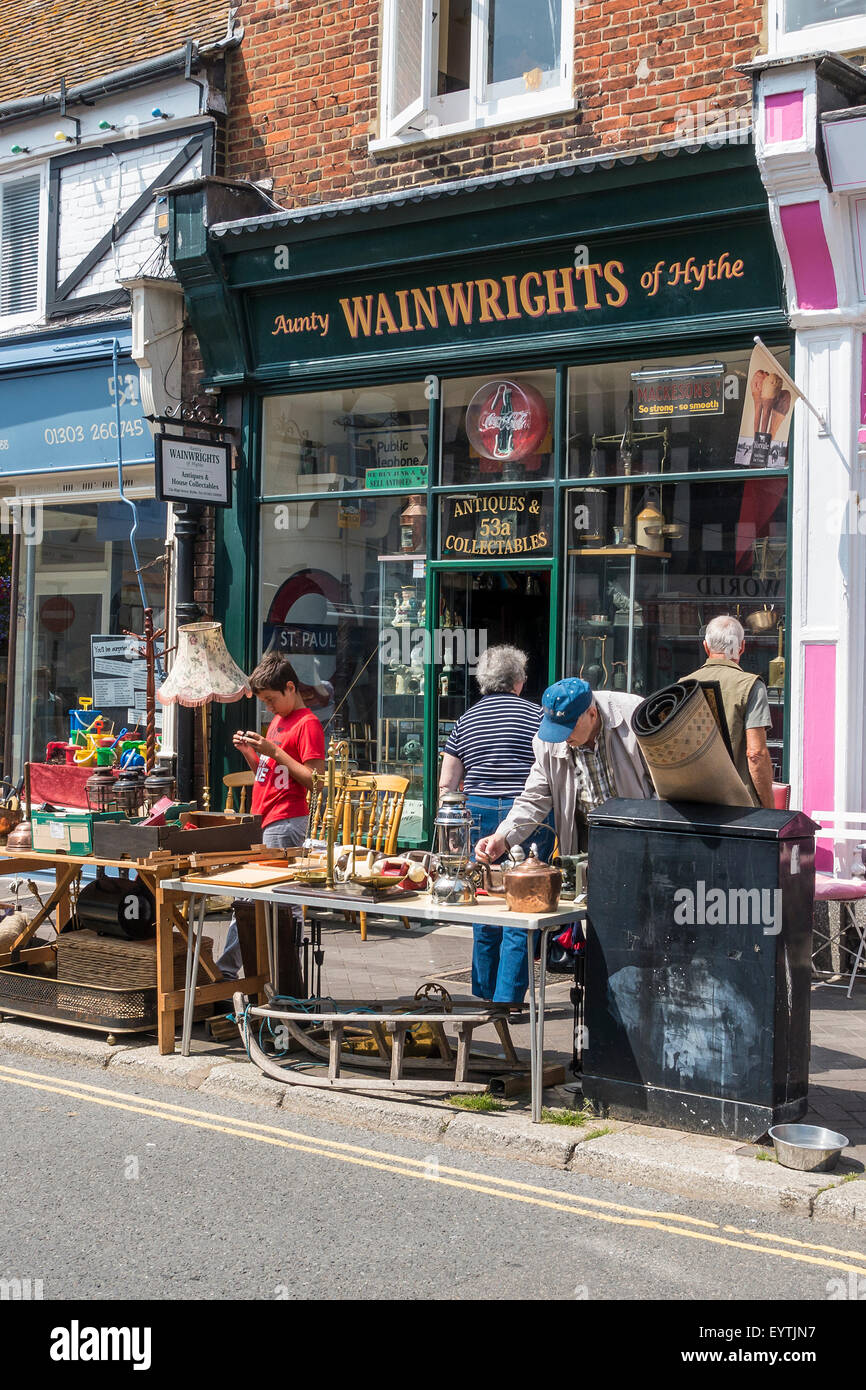 Antiques and Collectables BricaBrac Junk Shop High Street Hythe Kent UK - Stock Image