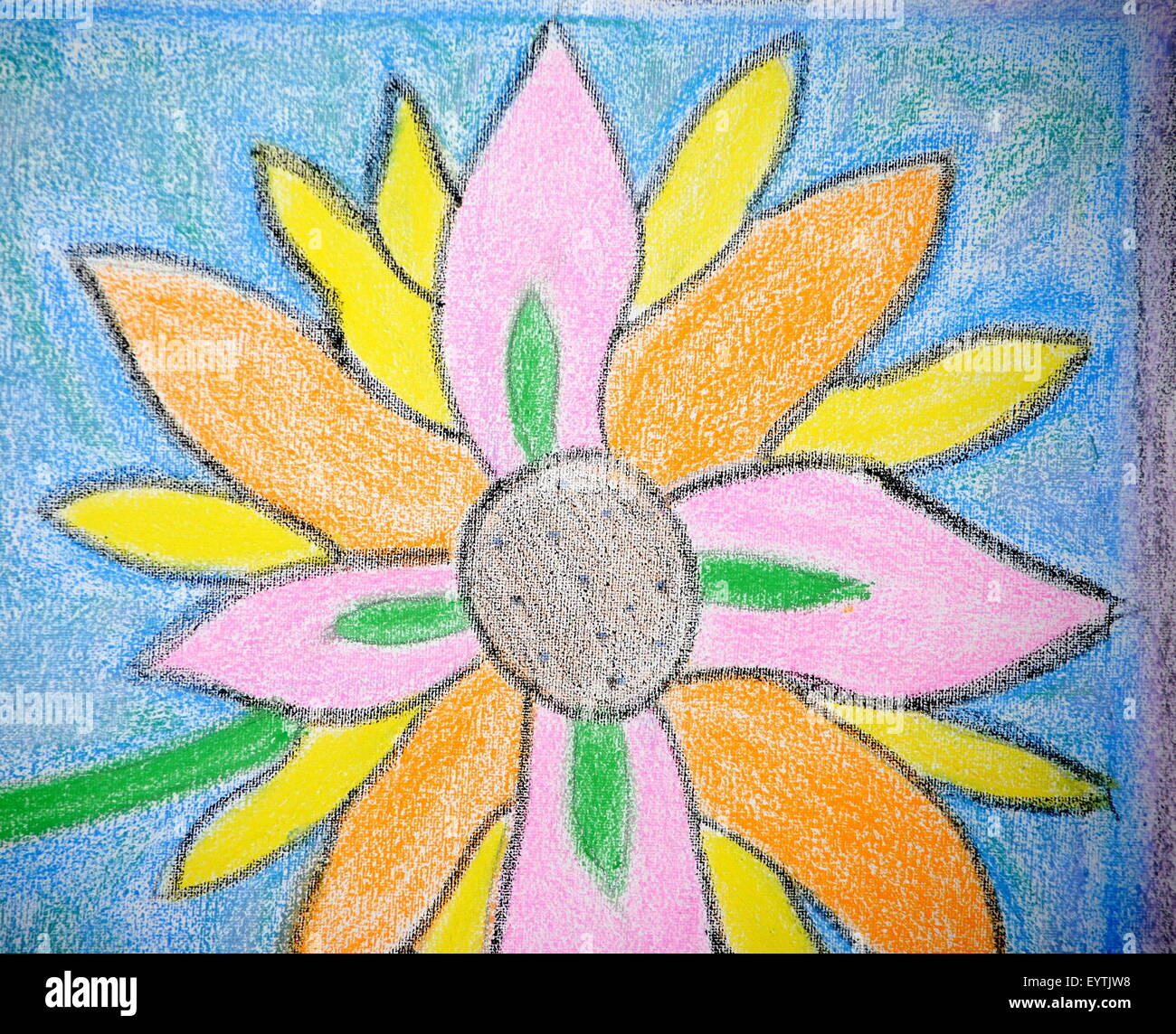 CRAYON COLORED FLOWER Stock Photo