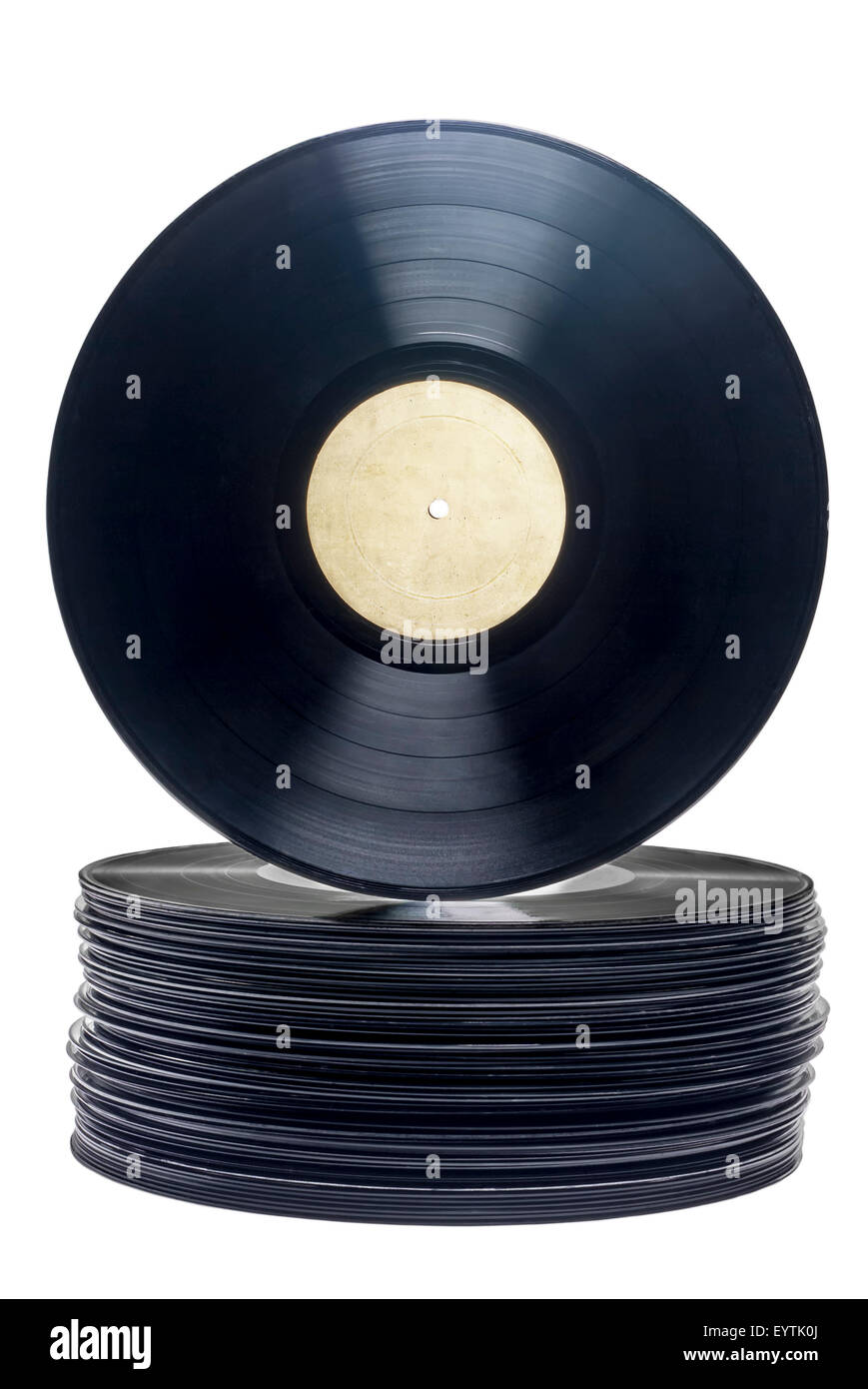 Stack of vinyl,long play records with label on a white background. - Stock Image