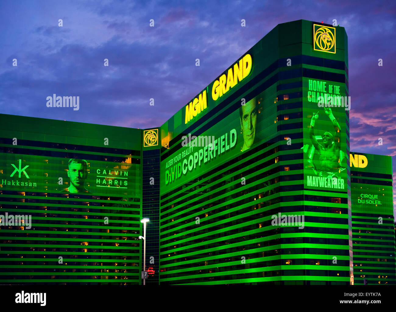 MGM Grand Hotel and Casino Las Vegas, Nevada at twilight with vibrant color and  dramatic sky. - Stock Image