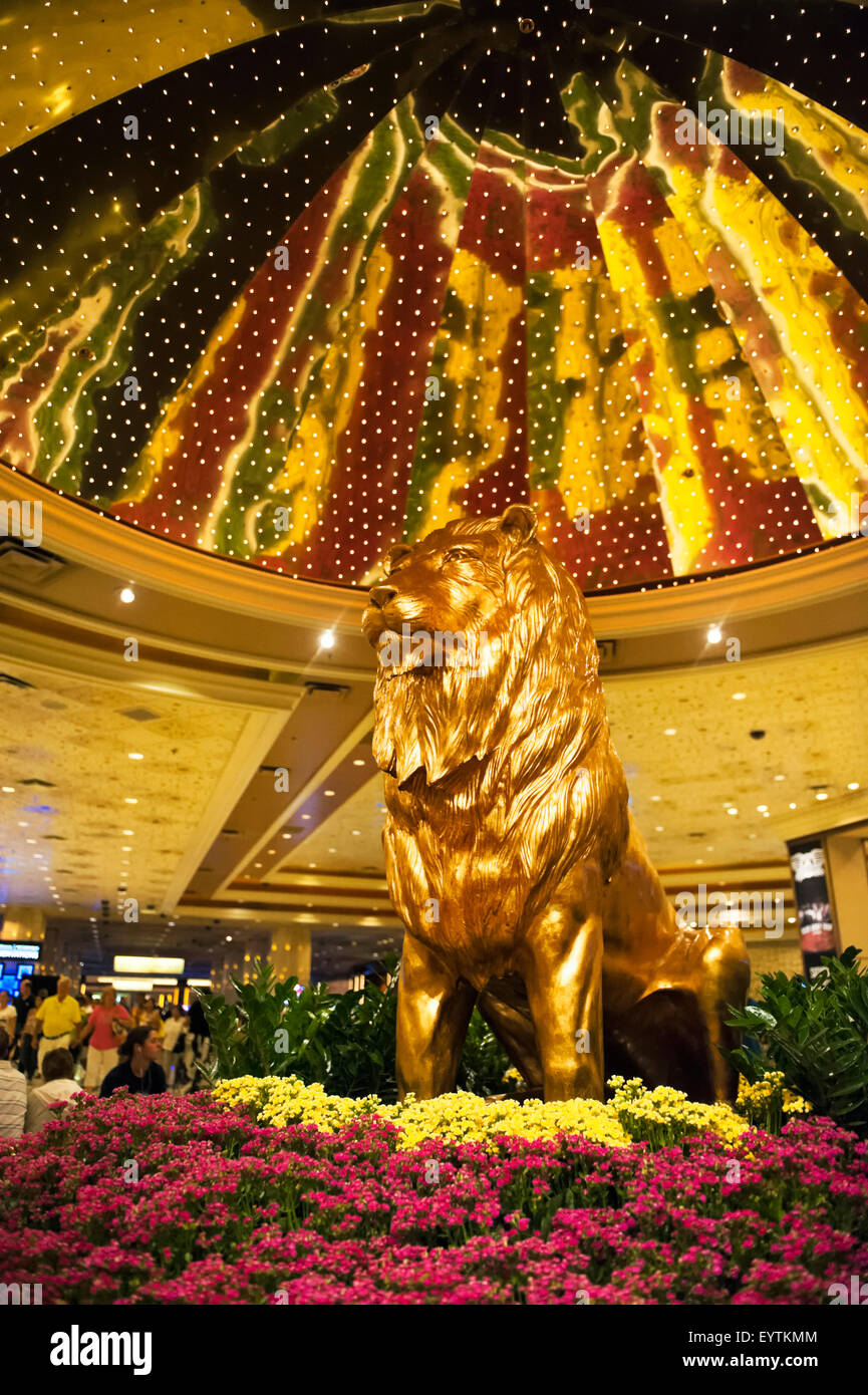 The MGM Lion in the atrium of the MGM Grand Casino & Hotel in Las Vegas, Nevada - Stock Image