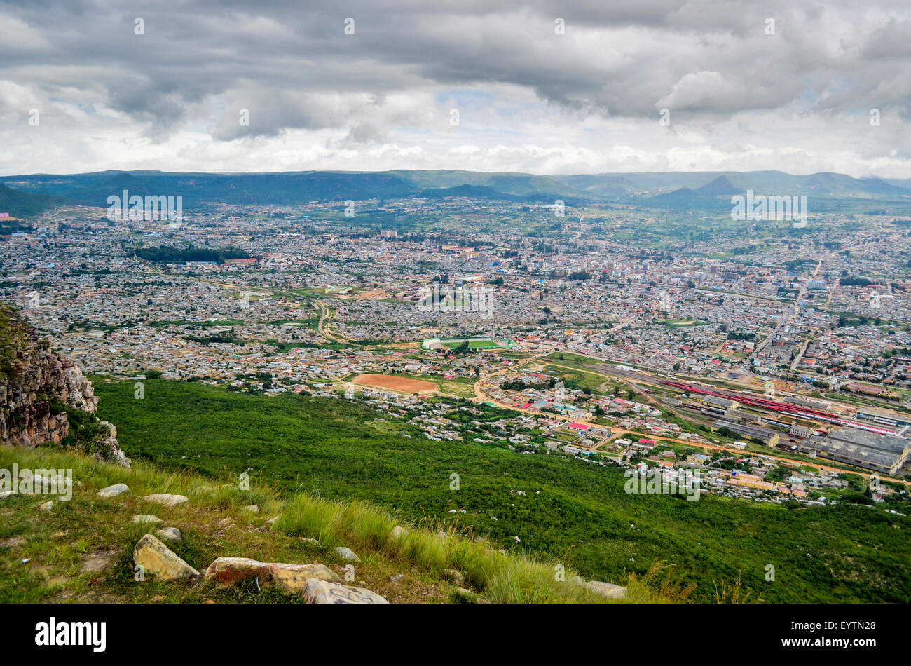 Aerial view of the city of Lubango, Angola - Stock Image