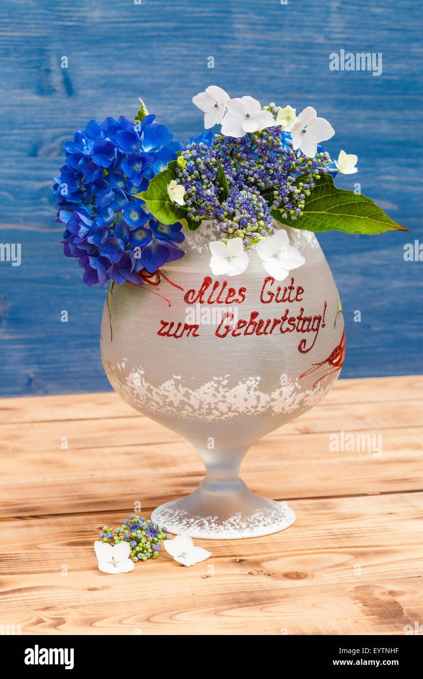 Glass Happy Birthday Flowers Hydrangeas Stock Photos Glass Happy